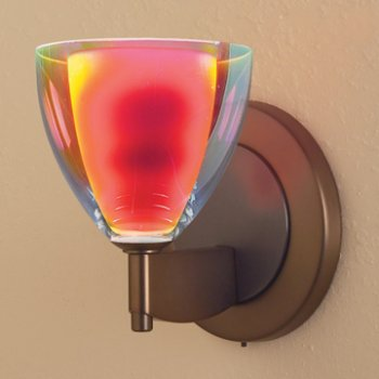 Shown in Sunrise Dichroic glass, Bronze finish