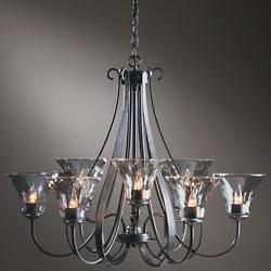 Sweeping Taper Nine Arms Chandelier With Water Glass