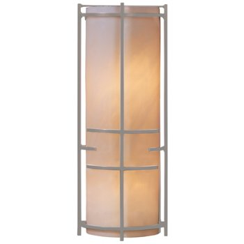 Shown in Burnished Steel finish, Ivory Art glass