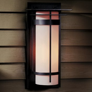 Banded Aluminum Outdoor Sconce With Top Plates
