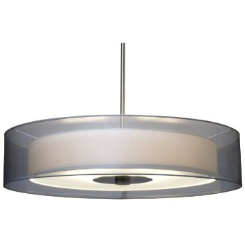 Shown in Satin Nickel finish with Silver Organza shade, Large size