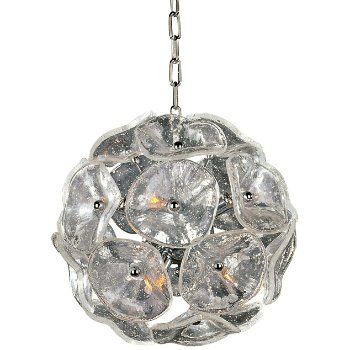 Shown in Amber Murano glass, Bronze finish, Small size