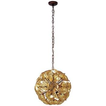 Shown in Amber Murano glass, Bronze finish, Medium size