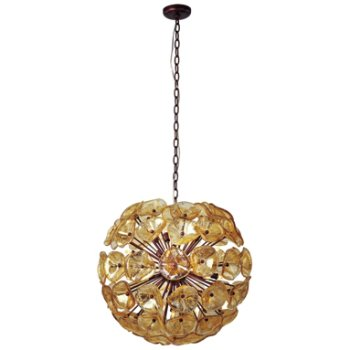 Shown in Amber Murano glass, Bronze finish, Large size