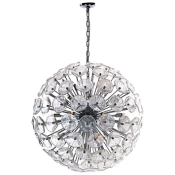 Shown in Clear Murano glass, Chrome finish, Extra Large size