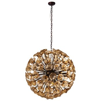 Shown in Amber Murano glass, Bronze finish, Extra Large size