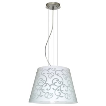 Shown in White Damask shade, Satin Nickel finish