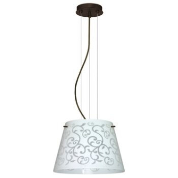 Shown in White Damask shade, Bronze finish