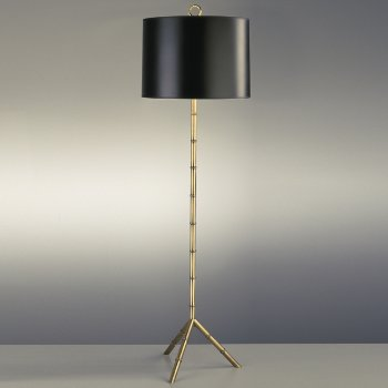 Shown in Black Parchment with Gold Tortoise Lining shade with Antique Natural Brass finish