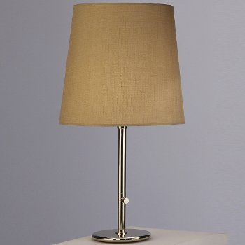Shown in Polished Nickel with Taupe Claiborne Fabric shade