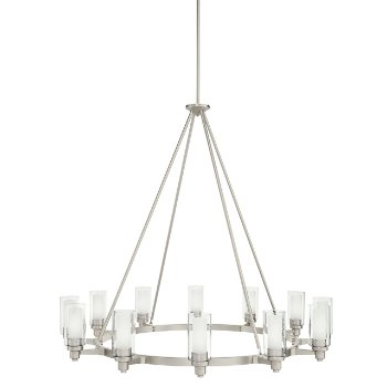 Shown in Olde Bronze and Clear Glass with Umber Etched Cylinders, 12 Light