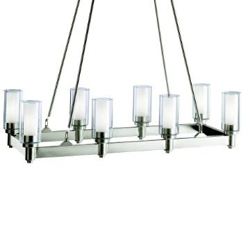 Shown in Brushed Nickel and Clear Glass with Satin Etched Cylinders