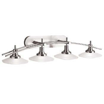 Shown in 4-Light, Brushed Nickel w Satin Etched Glass finish