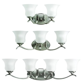 Shown in Satin-Etched glass, Brushed Nickel finish
