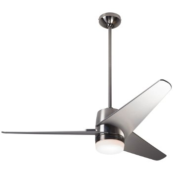 Shown in Bright Nickel finish with Nickel blades, LED light