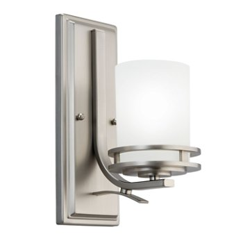 Shown in Brushed Nickel with Satin Etched Cased Opal Glass