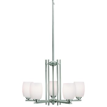 Shown in Brushed Nickel with White Etched Glass finish with 5 Lights