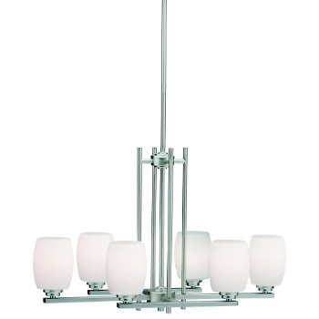 Shown in Brushed Nickel with White Etched Glass finish with 6 Lights