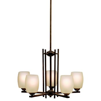 Shown in Olde Bronze with Umber Etched Glass finish with 5 Lights