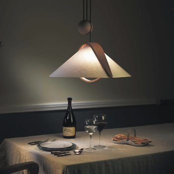 Shown in Alder Wood finish with Polycarbonate Shade, in use
