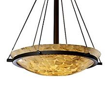 Alabaster Rocks Bowl Suspension Light with Ring-Small