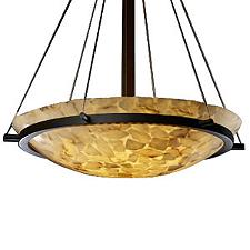 Alabaster Rocks Bowl Suspension Light with Ring