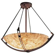 Alabaster Rocks Bowl Suspension Light with Crossbar