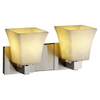 Shown in Brushed Nickel finish, Square Flared Shade, 2 Light