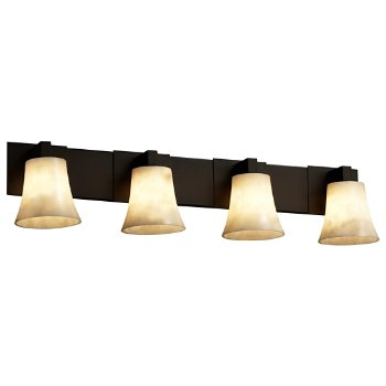 Shown in Dark Bronze finish, Round Flared Shade, 4 Light