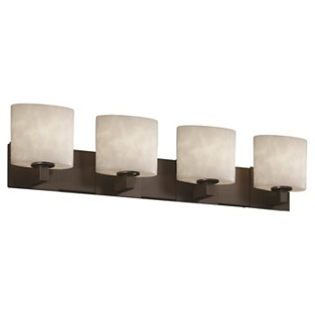 Shown in Dark Bronze finish, Oval shade, 4 Light