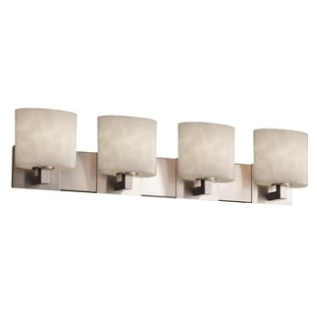 Shown in Brushed Nickel finish, Oval shade, 4 Light