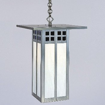 Shown with Pewter finish, Blue and White glass