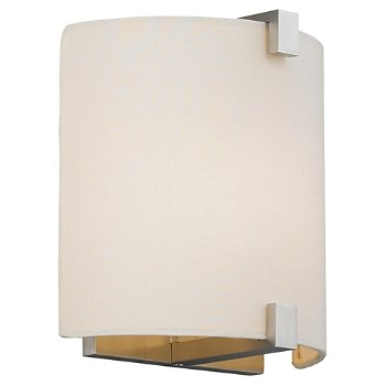 Shown with White Fabric shade and Satin Nickel finish