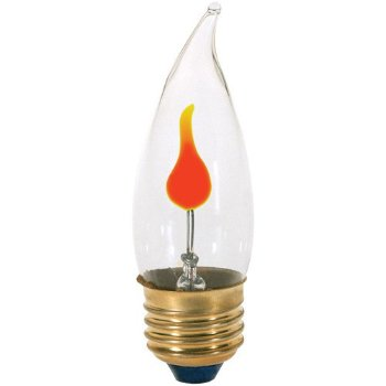 3W 120V CA10 E26 Flicker Clear Bulb