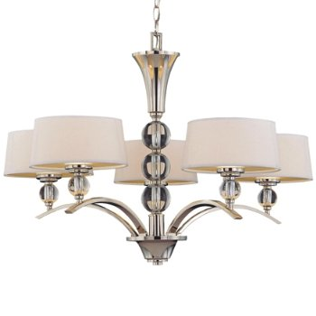 Shown in White Fabric shade, Polished Nickel finish