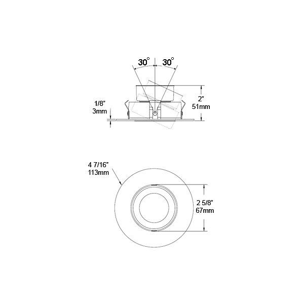 T3450D SM Adjustable Trim, Smooth Reflector