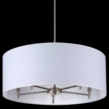 Shown in White Linen shade, Brushed Nickel finish