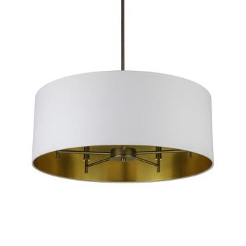 Shown in Metallic White/ Gold shade, Oil Rubbed Bronze finish