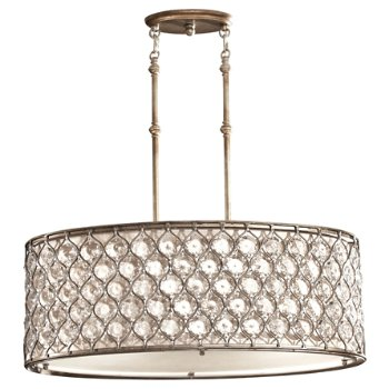 Shown in Burnished Silver finish, Cream shade