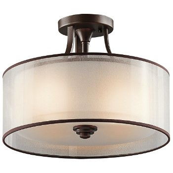 Shown in Mission Bronze with Light Umber Metallic Frosted Translucent Organza finish, Smalll size
