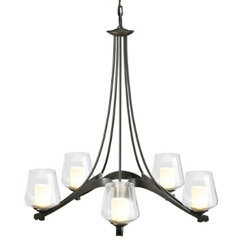 Shown in Dark Smoke finish, Opal shade color, 5 light