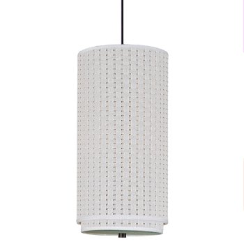 Shown in White Weave shade, Oil Rubbed Bronze finish