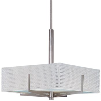 Shown in White Weave shade, Satin Nickel finish