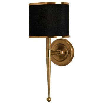 Shown unlit in Black shade, Brass finish
