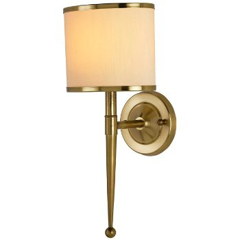 Shown lit in Cream shade, Brass finish