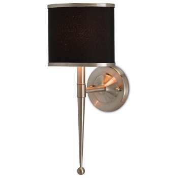 Shown lit in Black shade, Satin Nickel finish