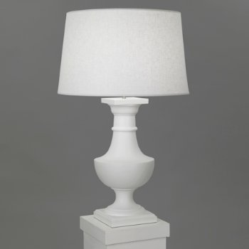 Shown in Matte White with White Brussels Linen shade finish