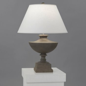 Shown in Faux Limestone with Oyster Linen Shade