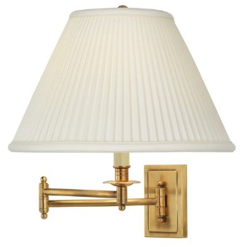 Shown in Antique Brass with Natural Side Pleat Fabric finish