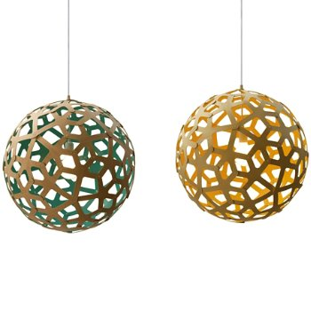 Shown in Natural and Aqua, Natural Bamboo, lit